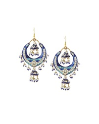 Chamak By Priya Kakkar Half Moon Station Drop Earrings Blue