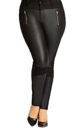 City Chic 'Rebel' Spliced Knit Skinny Pants Plus Size Black
