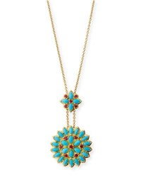 Paul Morelli Turquoise Cabochon And Ruby Pendant Necklace In 18K Gold
