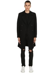 Palto Achille Double Breasted Wool Blend Coat Black