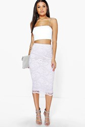 Boohoo Scallop Trim Longline Lace Skirt Violet
