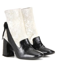 Erdem Andi Velvet And Leather Ankle Boots Black