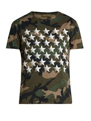 Valentino Butterfly Back Camouflage Print Cotton T Shirt Khaki Multi