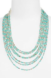 Cristabelle Women's Beaded Multistrand Necklace Turquoise Bronze Silver