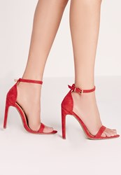 Missguided Pointed Toe Barely There Heeled Sandals Red Red