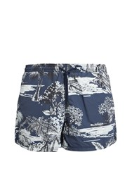 Etro Hawaii Print Swim Shorts Navy Multi