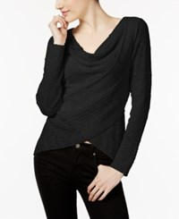 Inc International Concepts Cowl Neck Crossover Sweater Only At Macy's Deep Black