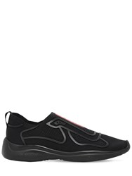 Prada America's Cup Knit Slip On Sneakers Black