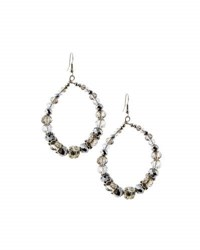 Emily And Ashley Beaded Statement Teardrop Earrings Silver
