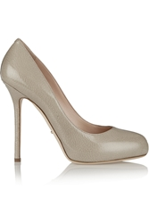 Sergio Rossi Barbie Snake Effect Patent Leather Pumps Gray