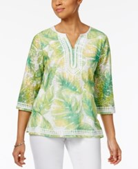 Alfred Dunner Petite Bahama Bays Embellished Printed Tunic Multi