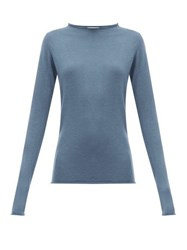 Raey Sheer Raw Edge Crew Neck Cashmere Sweater Blue