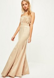 Missguided Nude Crepe Ruched Bandeau Maxi Dress