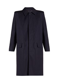 Balenciaga Structured Shoulder Cotton Trench Coat Navy