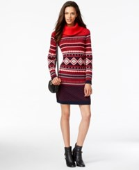 Tommy Hilfiger Printed Cowl Neck Sweater Dress Racing Red Navy