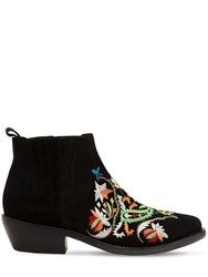 Etro 35Mm Embroidered Suede Boots Black