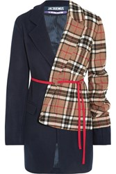 Jacquemus Paneled Checked Wool Blend Blazer Navy