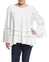 Cirana Plus Bell Sleeve Crochet Trim Tunic Off White