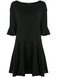 Aspesi Cropped Trumpet Sleeve Mini Dress Women Silk Spandex Elastane 40 Black
