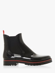 Dune Stripe Patent Leather Ankle Boots Black