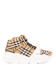 Burberry Regis Canvas High Top Trainers Tan Multi