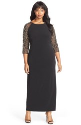 Plus Size Women's Chetta B Beaded Illusion Sleeve Jersey Gown
