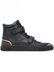 Louis Leeman Velcro Strap Hi Top Sneakers Black