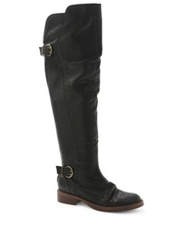 Kensie Stella Leather Over The Knee Boots Black
