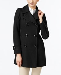 Anne Klein Petite Double Breasted Long Peacoat Black