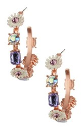 Betsey Johnson Flower Hoop Earrings Purple