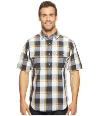 Woolrich Midway Yarn Dye Shirt Modern Fit Deep Indigo Plaid Men's Short Sleeve Button Up Multi