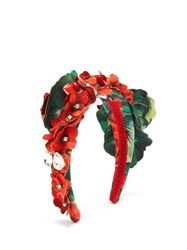 Dolce And Gabbana Crystal Embellished Floral Headband Red