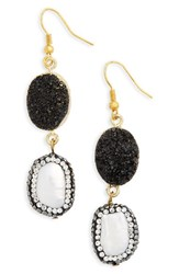Panacea Women's Drusy And Freshwater Pearl Drop Earrings