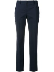 Theory Tailored Slim Cropped Trousers Blue
