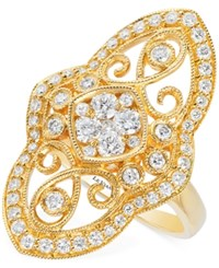 Le Vian Vanilla Deco Estate Vintage Diamond 9 10 Ct. T.W. Ring In 14K Gold