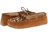 Minnetonka Leopard Cally Slipper Cinnamon Suede Women's Slippers Tan