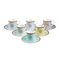 Roberto Cavalli Lizzard Coffee Cups And Saucers Set Of 6 Sunrise