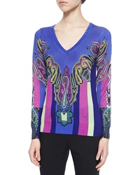 Etro Cashmere Blend Paisley Print Colorblock Sweater