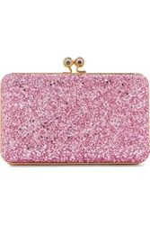 Sophie Hulme Sidney Glittered Suede Clutch Pink