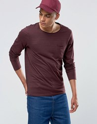 Selected Homme Long Sleeve Top With Raw Edge Burgandy Red