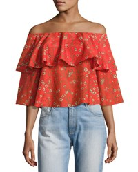 Alice Olivia Meagan Off The Shoulder Double Layer Floral Top Multi