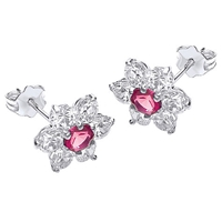 Ibb 9Ct White Gold Flower Cluster Stud Earrings White Red