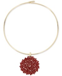 Kenneth Cole New York Gold Tone Woven Red Bead Pendant Collar Necklace