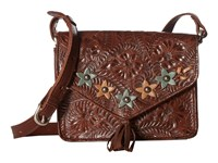 American West Flower Power Flap Crossbody Bag Chestnut Brown Turquoise Golden Tan Cross Body Handbags