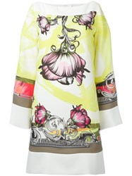 Versace Collection Floral Print Shift Dress Yellow Orange