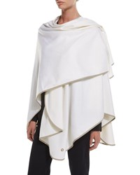 Loro Piana Regina Cashmere Wrap Cape White Black