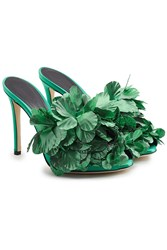Marco De Vincenzo Embellished Satin Mules Green