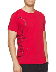 Calvin Klein Jeans Distress Foil Logo Tee Red Star