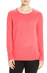 Halogenr Women's Halogen Crewneck Lightweight Cashmere Sweater Coral Sugar
