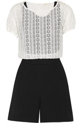 Maje Ilicci Layered Crocheted Stretch Jersey And Crepe Playsuit White